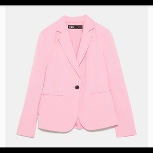 NWT Zara Pink Buttoned Blazer Suit Jacket